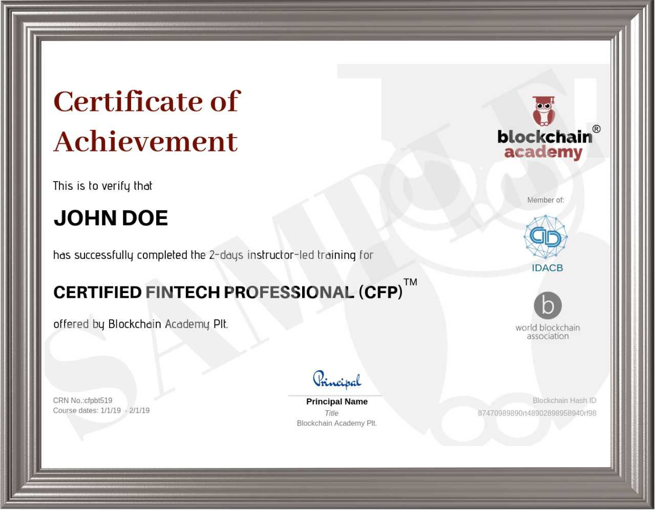 Sample certificate with frame
