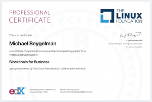 Blockchain for Business Certificate Sample