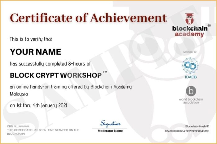 Sample Certificate Block Crypt Workshop