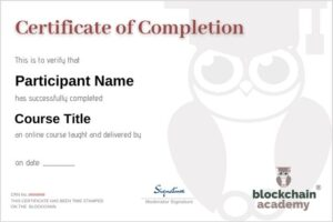 Certificate of Completion Sample Blockchain Academy